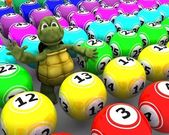 Tortoise with bingo balls — Stockfoto