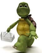 Tortoise with a shopping basket — Stock Photo