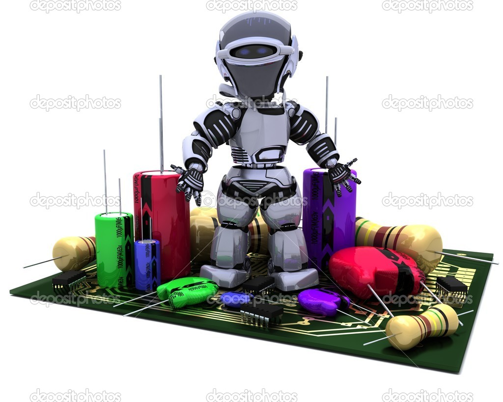 3D Render of a Robot With Capacitors Resistors and semi-conductors — Stock Photo #9284773