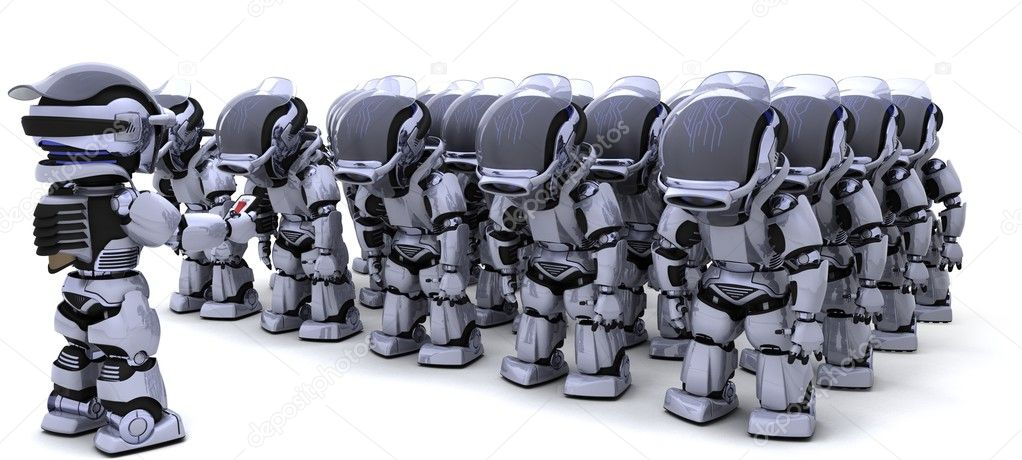 3D render of a Robot shutting down an army of Robots — Stock Photo #9284774