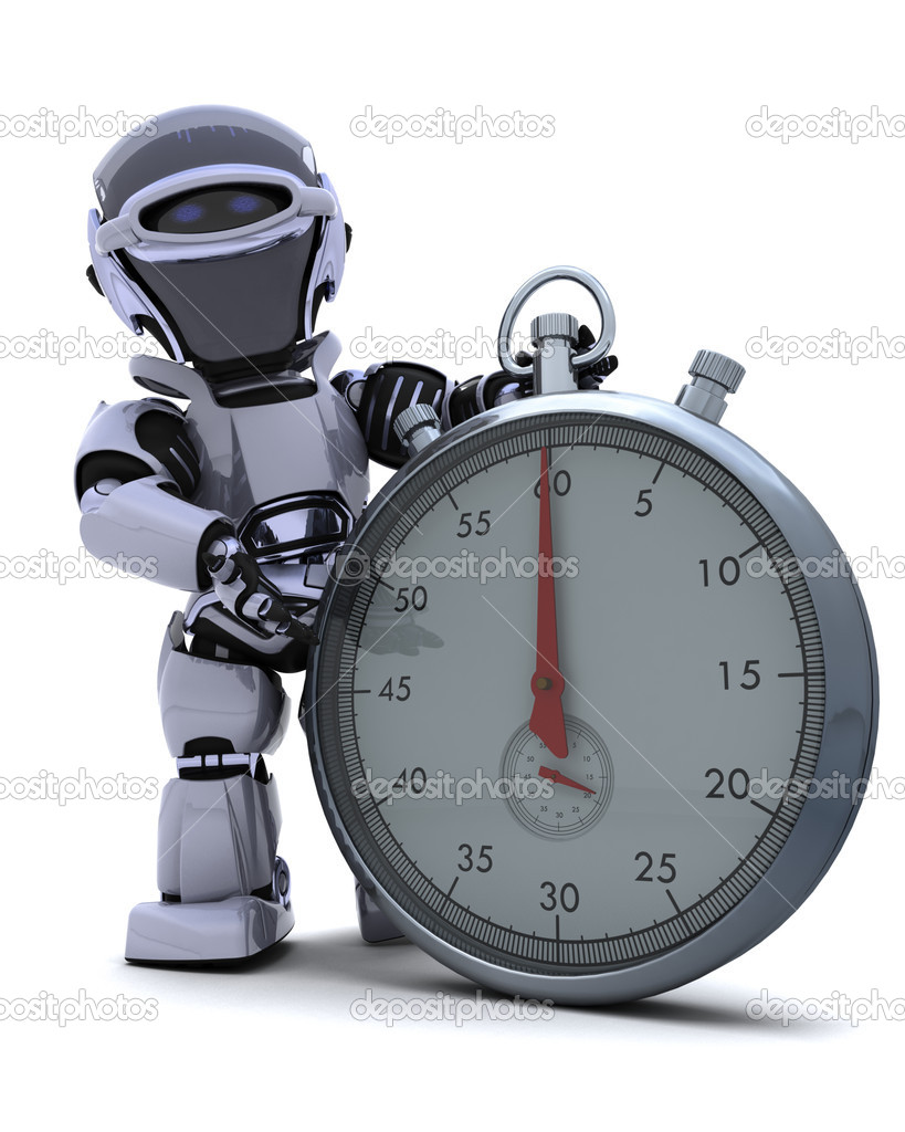 3D render of a Robot with a Traditional chrome stop watch  Stock Photo #9285980