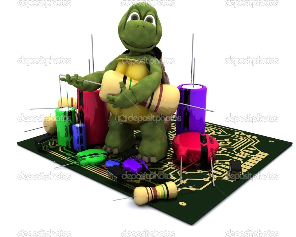 3D render of a tortoise with a micro chip — Stock Photo #9288608