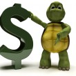 Tortoise with a dollar sign — Stock Photo
