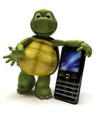Tortoise with a cell phone — Stockfoto