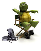 Tortoise in a directors chair — Stockfoto
