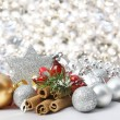Silver Christmas background - Stock Photo