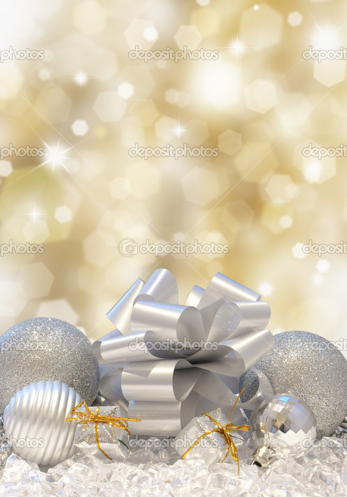 Christmas decorations on a golden background of blurred lights  Foto de Stock   #9310758