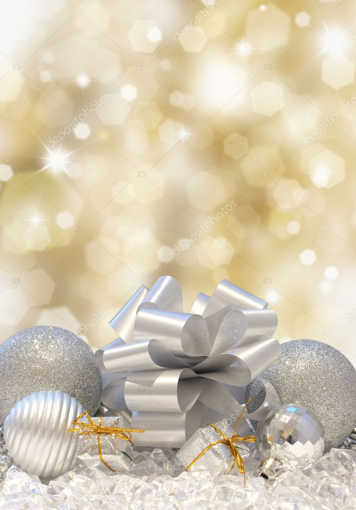 Christmas decorations on a golden background of blurred lights — Foto Stock #9310758