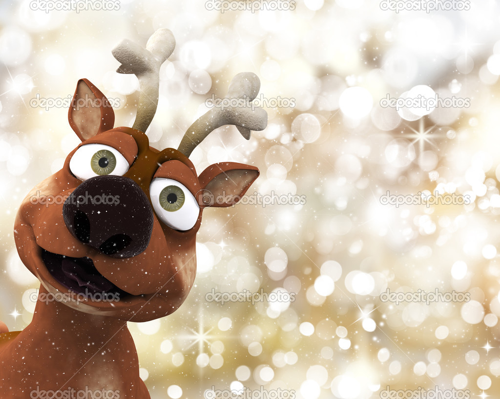 Reindeer on a Christmas background of golden bokeh lights — Stock Photo #9310796