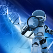 Robot with magnifying glass on DNA background — Stock Photo #9320066