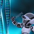 Robot with DNA strands - Stock Photo