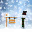 Stock Photo: Christmas snowman background