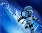 Robot with magnifying glass on DNA background — Stok fotoğraf