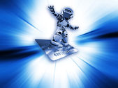 Robot on credit card — Stock Photo