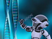 Robot with DNA strands — Stock Photo