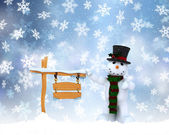 Christmas snowman background — Stock Photo