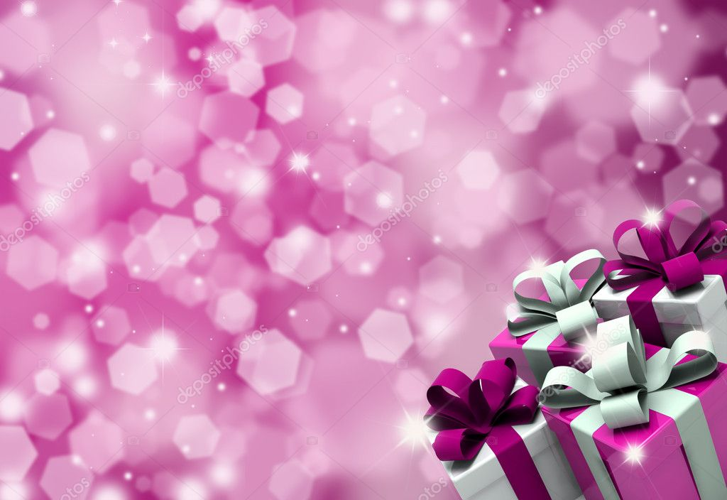 Valentines Day gifts on a glittery background — Stock Photo #9320039