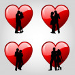 Couples and hearts — Stock Photo