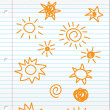 Hand drawn sun doodles on lined paper — Stock Photo