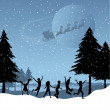Children playing with santa in the sky — Stock Photo #9359201