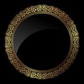 Circular gold frame — Stock Photo