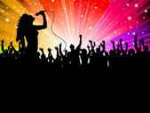 Female singer with crowd — Stock Photo