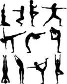 Females in yoga poses — Stock Photo