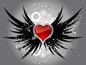 Serce na nieczysty skrzydła — Zdjęcie stockowe