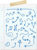 Hand drawn arrows on lined paper — Stok fotoğraf