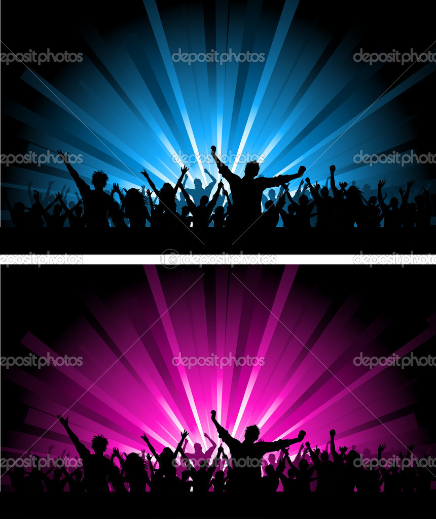 Silhouette of a crowd scene on different coloured starburst backgrounds  Zdjcie stockowe #9354038