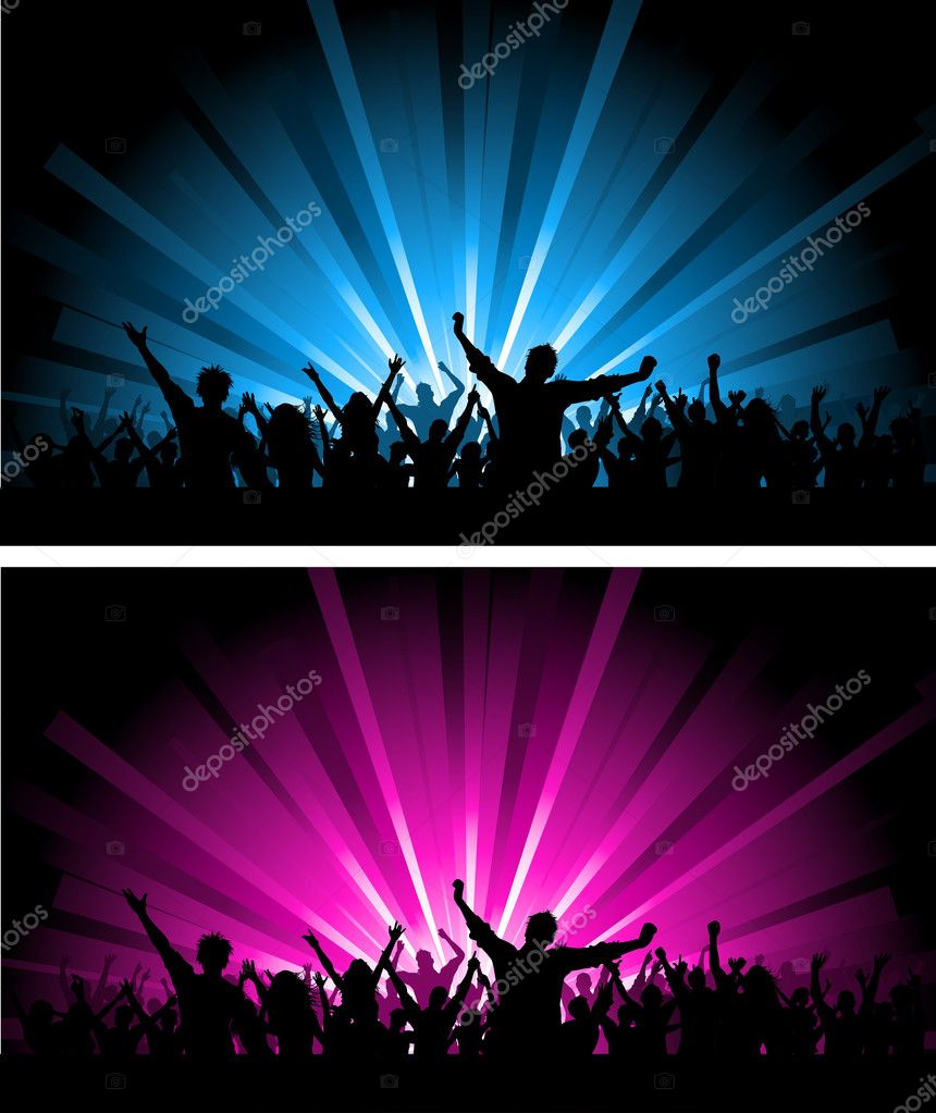 Silhouette of a crowd scene on different coloured starburst backgrounds    #9354038