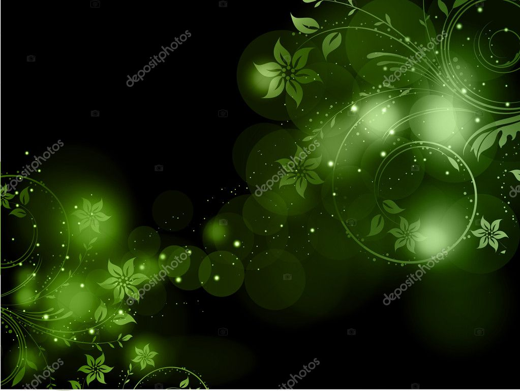 Decorative floral design on a green abstract background  Stock Photo #9354330