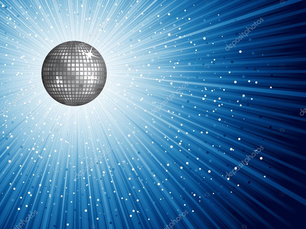 Shiny disco mirror ball on a starry background — Stock Photo #9354723