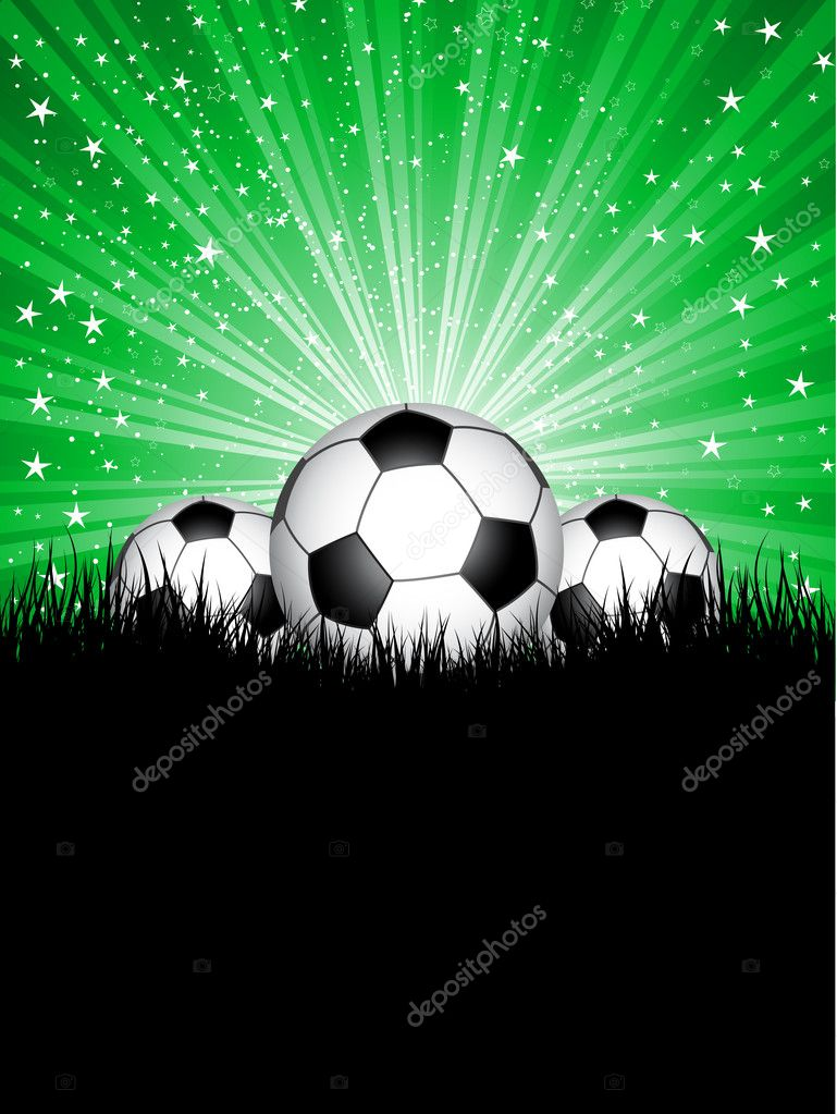 Three footballs nested in grass against a starburst background — Stock Photo #9355802