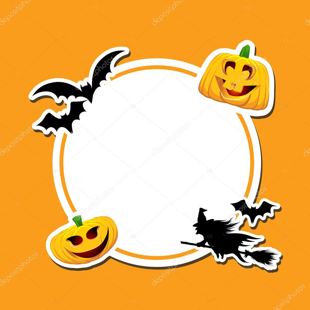 Halloween background with pumpkins, bats and a witch — Stock Photo #9357868