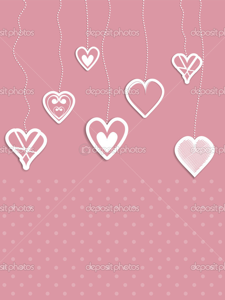 Valentines Day themed background of hanging hearts — Stock Photo #9358162