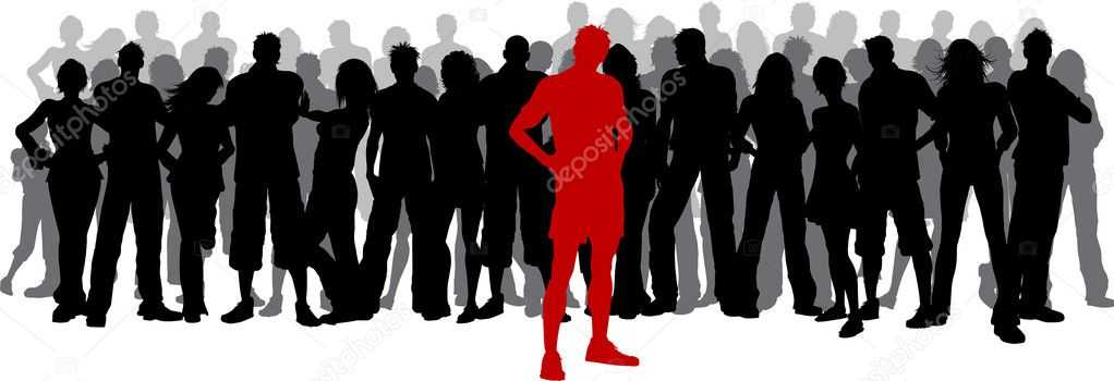 Standing crowd silhouette - photo#28