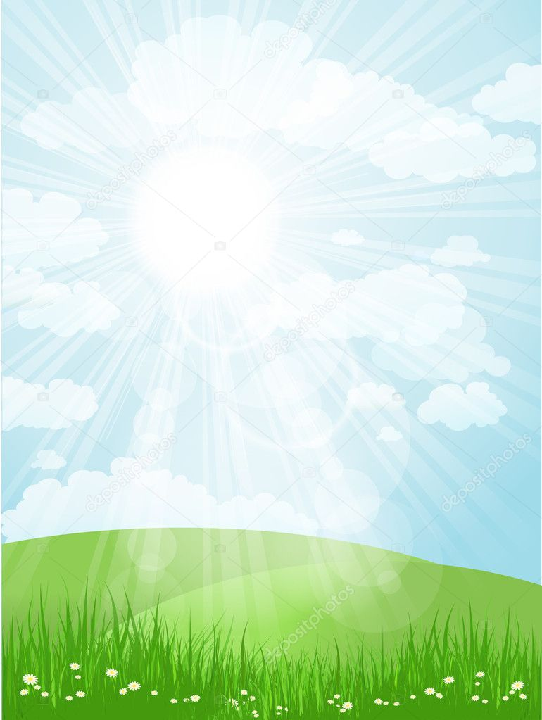Landscape background with bright sun shining down — Stock Photo #9359858