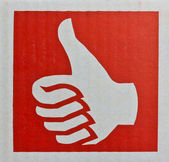 Thumb up , Like symbol in red background — Stock Photo