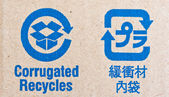 Image close-up of blue recycle fragile symbol — Stock Photo