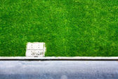 Green grass near city street — Stock Photo