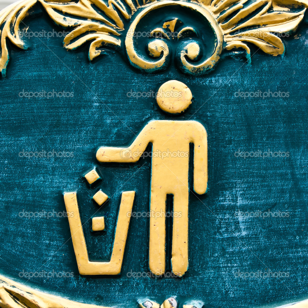 Figure of person throwing garbage into a trash can  Stock Photo #8254179