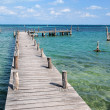 Wooden pier in cancun — Stock Photo