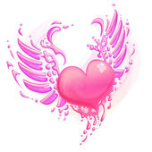 Pink heart with wings — Stock Vector
