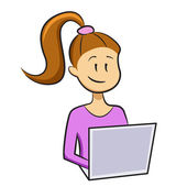 Girl types on a laptop and smiles — Stock Vector