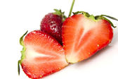 Beautiful strawberries isolated on white — Stock Photo