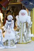 Santa claus a sněhurka. — Stock fotografie