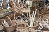 Woven baskets and other items from the tree on the street. — ストック写真