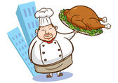 Illustration of a chef holding delicious dish — Stock Photo