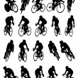 20 detail racing bicycle silhouette - Stock Vector